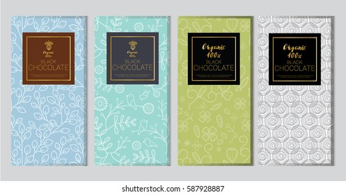 Chocolate bar packaging mock up set. Trendy luxury product branding template with label and geometric pattern. vector