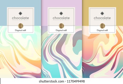 Chocolate bar packaging set. Trendy luxury product branding template with label pattern for packaging. Vector design.