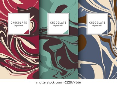 Chocolate bar packaging set. Trendy luxury product branding template with label and geometric pattern. Vector design.