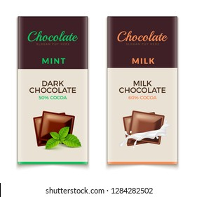 Chocolate bar packaging template design. Chocolate branding product pattern. Vector luxury design package.