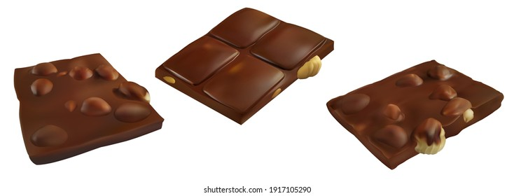 Chocolate bar piece with whole big hazelnuts. Realistic vector illustration. Candy set  isolated on white