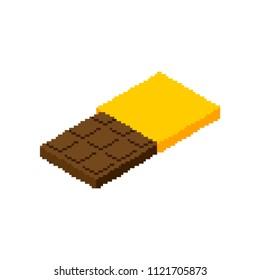 Chocolate bar Pixel art. Sweetness 8 bit. Food digital. Vector illustration