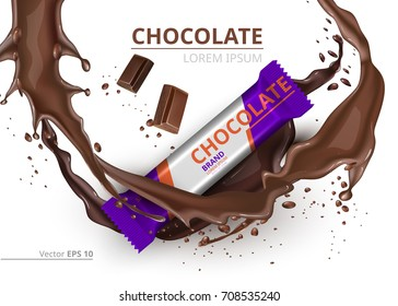 Chocolate bar realistic Mock up Vector label design. Splash and chocolate drops background