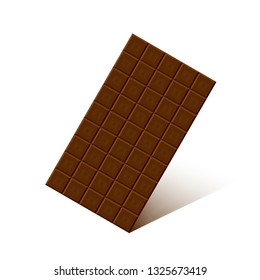 Chocolate bar with shadow isolated on white background.