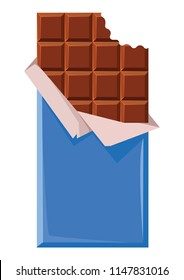 A chocolate bar in a slightly open package. A bite on the chocolate. Blue packing. Place for your text. Vector illustration. In a realistic style. On a white background.