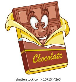 Chocolate bar. Sweet candy food concept. Happy cartoon design for kids coloring book, colouring page, t-shirt print, icon, logo, label, patch, sticker.