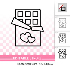 Chocolate bar thin line icon. Outline web sign of candy. Sweet linear pictogram with different stroke width. Simple vector symbol, transparent background. Surprise editable stroke icon without fill