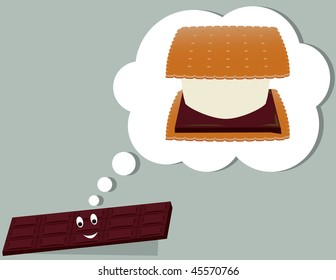 Chocolate bar thinking of a smore - vector version