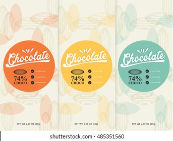 chocolate bar - vector set of design elements and seamless pattern for chocolate packaging  background in linear style.