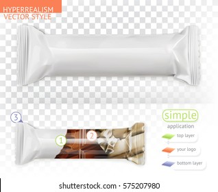 Chocolate bar, white polyethylene packaging. Hyperrealism vector style, simple application