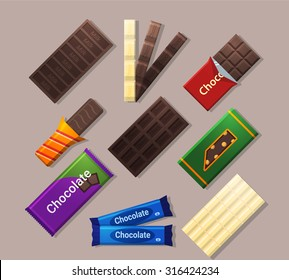 Chocolate bars icons in flat style and long shadow.Dark, milk, white chocolate and different bars. Detailed flat style