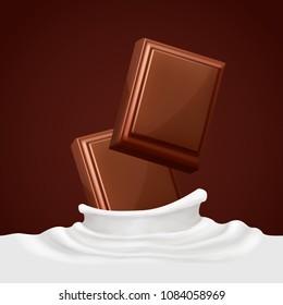 Chocolate bars and milk splash.