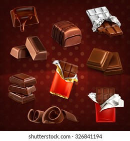 Chocolate bars and pieces, vector set dark