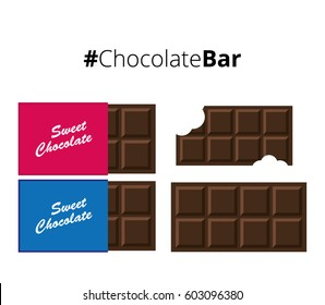Chocolate Bars Simple on White Background