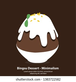 chocolate bingsu or kakikori korean dessert - Minimalism illustration vector