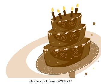 Chocolate Birthday cake background- vector version