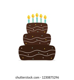 Chocolate birthday cake with candles vector cartoon illustration.