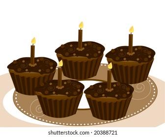 Chocolate birthday cupcake image - vector version