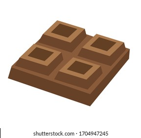 chocolate brown bar sweet sugar symbol icon flavour isolated on white background