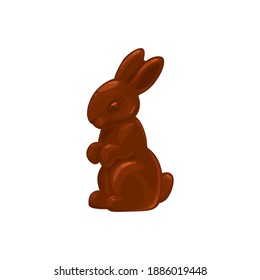 Chocolate bunny or rabbit candy, Easter treat sweets, vector isolated icon. Chocolate bunny confection, cocoa food dessert and holiday confectionery sweets