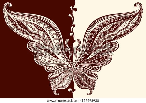 Chocolate butterfly with delicate patterns on the wings.