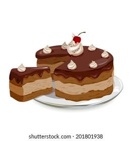 chocolate cake with cherries on a plate. vector illustartionij
