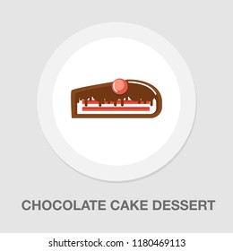 chocolate cake dessert icon - vector sweet food - birthday cake