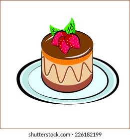 chocolate cake with strawberry topping in Doodle Style