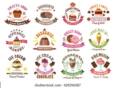 Chocolate cakes and cupcakes, donuts, cookies and pudding, ice cream sundae and cones for bakery and pastry shop design usage, encircled by ribbon banners and fruits, candies and vanilla flowers