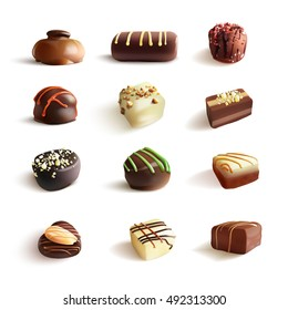 Chocolate Candies Big Set. Vector Realistic Illustration. Isolated On White