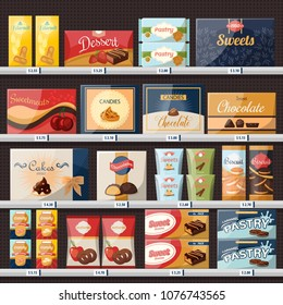 Chocolate candies in paper packs, sweets at shop or store showcase or stall, market stand or supermarket confection grocery at shelf with price tags or labels. Nutrition and trade, sell and retail