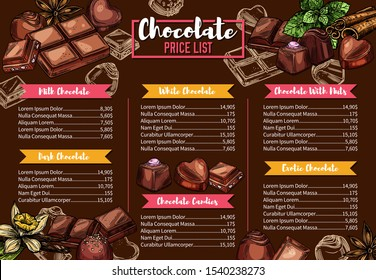Chocolate candies shop, confectionery menu, vector sketch. Natural handmade milk and dark chocolate candy sweets with praline, chocolate bars with nuts or cocoa and cherry topping