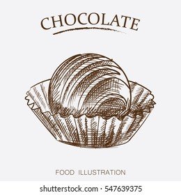 Chocolate candies sketch style isolated on white background.  Retro style vector illustration poster.