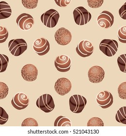 Chocolate candies.Seamless pattern. Design for textiles, napkins, tapestries, tablecloths, wrapping paper