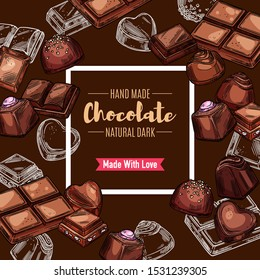Chocolate candy and bars vector design of sweet food dessert. Sketches of dark cocoa candies in a shape of square, heart and pyramid with praline, truffle, caramel fillings and coconut, nuts toppings