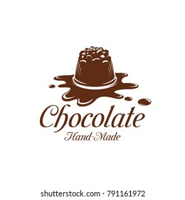 Chocolate candy or comfit dessert on chocolate splash icon template for sweet hand made choco product label design template. Vector isolated chocolate cake for patisserie or confectionery