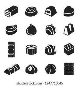 Chocolate candy confectionery assortment black icon set. Sweets or lollies, delicious confection stmbol. Vector line art illustration isolated on white background