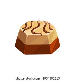 Chocolate candy isolated icon, vector sweet dessert confection. Chocolate candy comfit of white and dark chocolate with caramel topping, confectionery dessert sweets