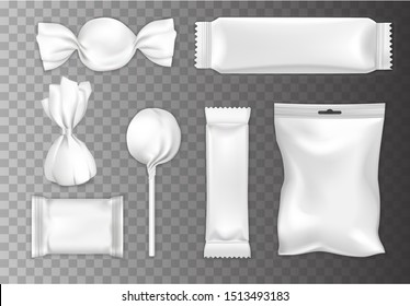 Chocolate and candy packaging mockup set, vector illustration isolated on transparent background. Realistic white blank plastic foil food storage bags, chocolate bar, chocolates and lollipop wrappers.