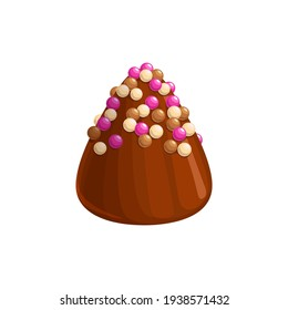 Chocolate candy, sweet dessert truffle praline icon, vector confection food. Chocolate candy comfit of milk or dark chocolate with caramel glaze sprinkles topping, confectionery dessert sweets