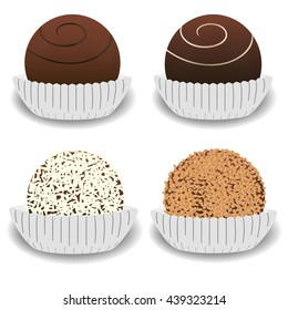 Chocolate candy, variation of chocolate desserts. Vector illustration isolated on white background.