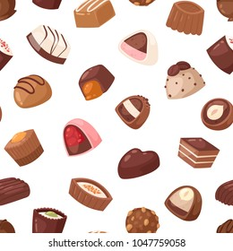 Chocolate candy vector sweet confection dessert with cocoa in confectionery shop illustration of tasty choco truffle in candyshop set isolated on seamless pattern background