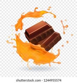 Chocolate in caramel splash Realistic vector illustration