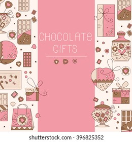 Chocolate card with flat icons. Can use for gre?ting cards,  certificates, flyers