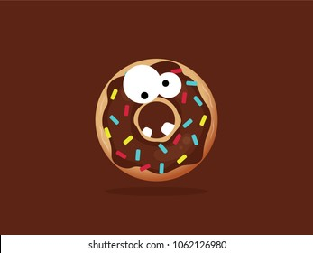 Chocolate cartoon monster donut in flat style illustration. Vector flat, colorfull. Big monster with small teeth.