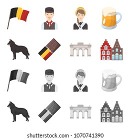 Chocolate, cathedral and other symbols of the country.Belgium set collection icons in cartoon,monochrome style vector symbol stock illustration web.
