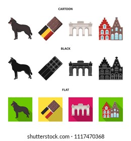 Chocolate, cathedral and other symbols of the country.Belgium set collection icons in cartoon,black,flat style vector symbol stock illustration web.