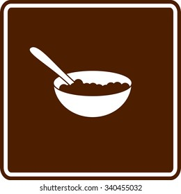 chocolate cereal bowl with spoon sign
