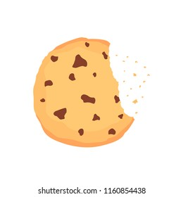 A chocolate chip cookie. Choco cookie icon. Vector illustration