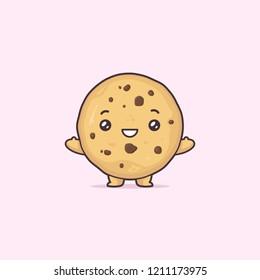 Chocolate chip cookie kawaii cartoon cute vector character illustration